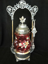 Antique VICTORIAN PICKLE CASTOR Cranberry Coindot Handpainted w/ GORGEOUS INSERT
