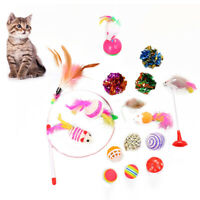 Sn _ 16Pcs Chat Plume Faux Souris Bâton Teaser Ball Bague Animal de Compagnie