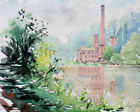 Matlock Bath Masson Mill River Derwent Arkwright original watercolour painting