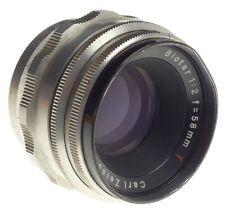 ZEISS Jena Biotar 1:2 f=58mm red T screw mount camera lens 2/58mm chrome pre set