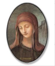 Mj Hummel Mother Of God Suncatcher Enamel Fired On Oval Cathedral Glass New