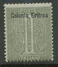 "ITALIAN ERITREA 1893 1 C. gray-oliv with overprint ""Colonia Eritrea"" superb U/M"
