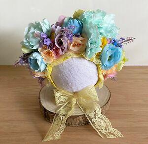Sitter Size Floral Bonnet - Photography Photo Shoot Prop Baby Rainbow