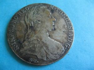 ANTIQUE SILVER 833 COIN 1 THALER AUSTRIA MARIA THERESA 1780 NEVER CLEANED