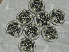 CHANEL  8 METAL CC LOGO FRONT  BLUE GLASS PEARL BUTTON  14 MM ' NEW lot 8
