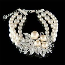 w Swarovski Crystal Flower Floral Pearl Brooch 3 Strand Row .925 Silver Bracelet