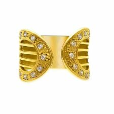 18K Yellow Gold 0.25Ct White Sapphire Cocktail Ring Size 7 (Sizable)