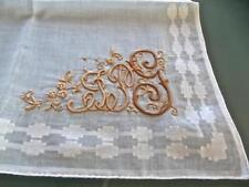 Vintage Swiss Cotton Handkerchief Madeira Embroidered Beige Monogram IPG Hankie