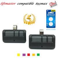 2 pack Compatible 893MAX 3 Button Liftmaster Visor Remote Control Garage Opener
