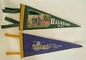 2 Vintage Souvenir State Pennants- Canton, Ohio & Raleigh, N.C.