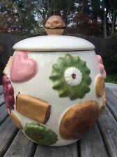"""Vintage Los Angeles Pottery """"Cookies All Over"""" Cookie Jar Walnut Knob Lid 1950s"""