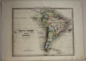SOUTH AMERICA 1858 FRANCESCO COSTANTINO MARMOCCHI ANTIQUE COPPER ENGRAVED MAP