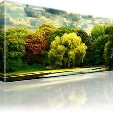 Herbst & See & Bäume Leinwand - Bild - Bilder - Druck