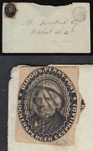 """BLOOD'S PENNY POST"" #15L18 LOCAL STAMP PLUS BLOOD'S HANDSTAMP ON 1860 COVER"