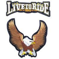 2PCs Live To Ride Large Upwing Eagle Harley Davidson Iron On Vest Jacket Patch