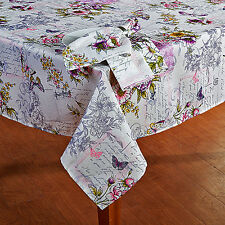 """Vintage Butterfly Floral, French Script Fabric Tablecloth 70"""" RND Cottage Decor"""
