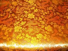 "Golden Copper & Orange Brocade Asian Dragon Flowers Fabric Dresses 2Y 22""x 38""W"