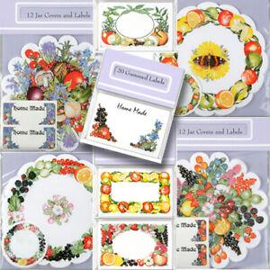 PRESERVE JAR PAPER COVER LABEL Garden Fruit Kitchen DIY Homemade Jam Floral Gift