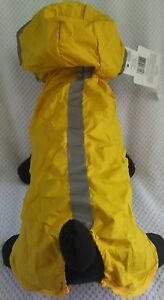 Dog Rain Coat Collar Yellow Size XLarge Reflective Fold Out for SMALL DOG BREEDS