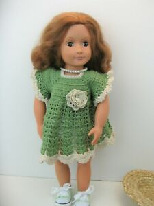 "Battat Our Generation 18"" Doll , Light Brown Eyes, Handmade crochet dress & hat"