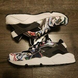 NIKE Air Huarache Running Shoes Womens Size 7 Marble Dye Black 683818-017