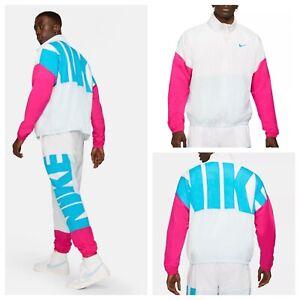 Nike Starting 5 Basketball Jacket Coat Retro Zip White Blue Pink CW7348-100 Mens