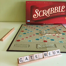Scrabble Crossword Game Wood Tiles + Racks Gameboard made in USA