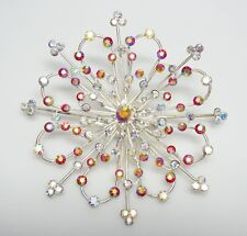 "MASSIVE 3 3/4"" Red & Clear Aurora Borealis Flower Brooch/Pin- SPECTACULAR"