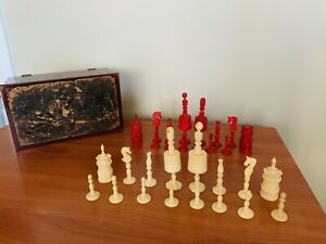 Antique Bone Chess Set c. Late 19th Century - Complete Red & White Carved Pieces