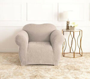 Oyster | 1 Seater Surefit Stretch Slipcover | Jacquard Damask | Sofa Couch Cover