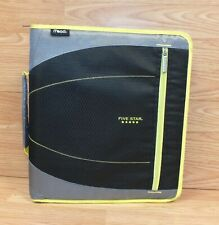 Genuine Mead Five Star Green & Black 3 Ring Zip Up Binder With Pouches **READ**
