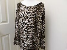 Rampage Ladies Knit Top Batwing Sleeves Leopard Pattern Sexy Back