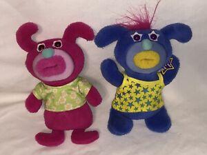 Lot 2 Sing-a-ma-Jig Fisher Price Mattel Singing Plush stuffed animal Pink Blue