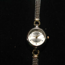 Carriage Gold and Silver Tone Round Face Clasp Wrist Watch 7 inches Long