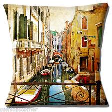 Venice Italy Cushion Cover 16 inch 40cm Gondolas on Narrow Canal Old Mottled