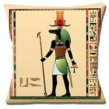"NEW Egyptian God Crocodile Head Man 'Sobek' Cream Beige 16"" Pillow Cushion Cover"