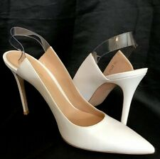 gianvito rossi Shoe White Pointed Toe Clear Sling Back Pump New Size 40 1/2