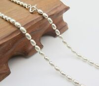 Pure 925 Sterling Silver Necklace 3mm Oval Bead Link Chain Necklace 45cm to 50cm