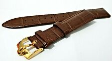 NEW LEATHER GENTS WATCH STRAP BROWN 18mm WITH YELLOW GOLD PLATED OMEGA BUCKLE.