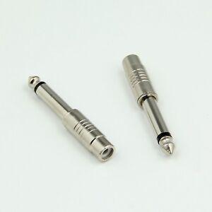 2x 1/4 inch 6.35mm Mono Jack Plug to RCA Phono Female Guitar Adapter Convertor