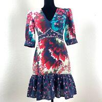 Saloni Womens 3/4 Sleeve Tropical Hydrangea Print Dress Size 4 US 34 EUR $575