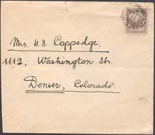 China, Manchukuo Cover to Denver, Colorado, USA. Early Cover, Rare!