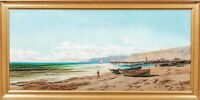 Large 19th Century French Coastal Beach Landscape Alfred Godchaux (1835-1895)