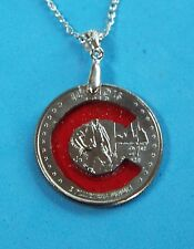 Hand Cut Illinois Quarter with the Cubs Logo made into a Necklace