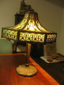 "Antique 24"" 8-Panel Concave Bent Glass Table Lamp Miller Bradley Handel Era"
