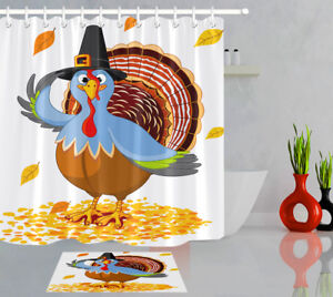 Mr. Thanksgiving Turkey 100% Polyester Fabric Shower Curtain Bathroom Set Hooks