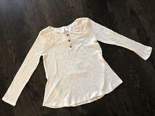 Xhilaration Soft Ivory Top Long Sleeve Lace Embellishment Size Large (10/12) EUC