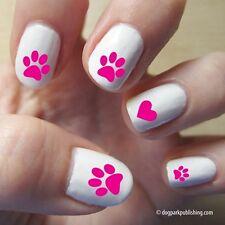 Paw Print Love Nail Art - Hot Pink - (DPNA003)- Free Shipping