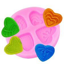 4 Mini Cuore Stampo in silicone, lo Zucchero Craft, fondente, cioccolato decorazioni per cupcake