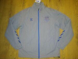 New Everton FC 20/21 Training Rain Coat Jacket Top Adult Grey L Large Hummel